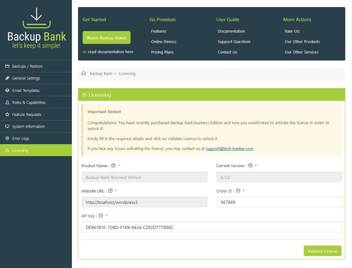 licensing page backup bank Backup Bank - Licensing