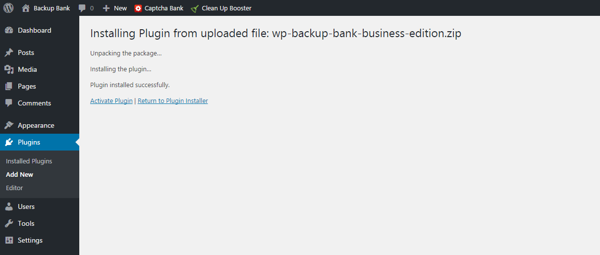 Installation - wordpress backup plugin wp-backup-bank-installation