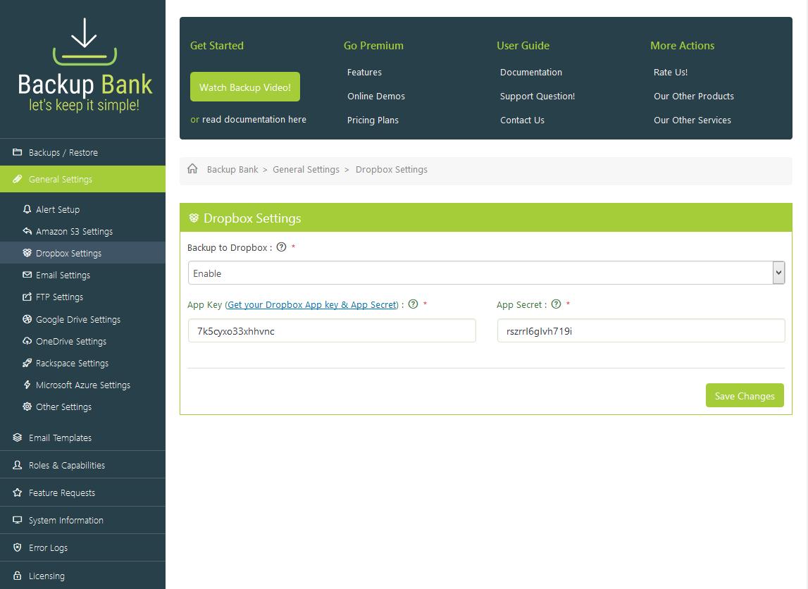 Backup Bank - General Settings - Dropbox Settings