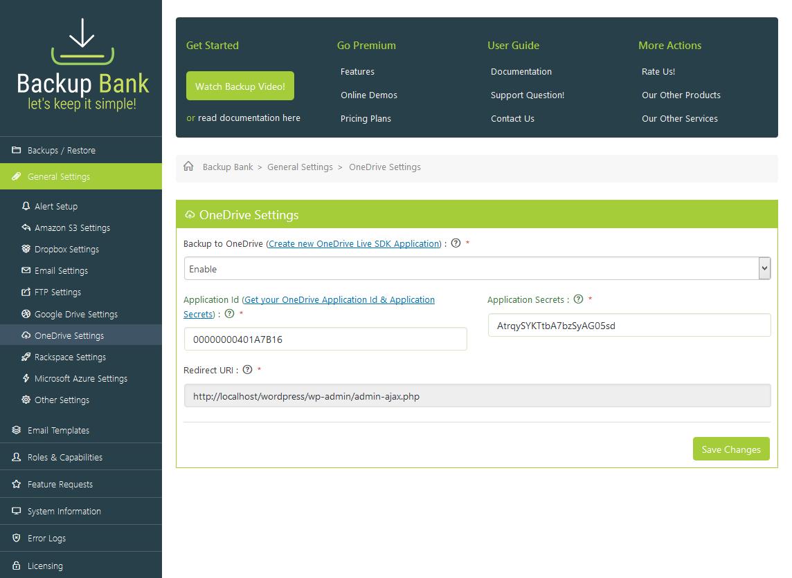Backup Bank - General Settings - OneDrive Settings
